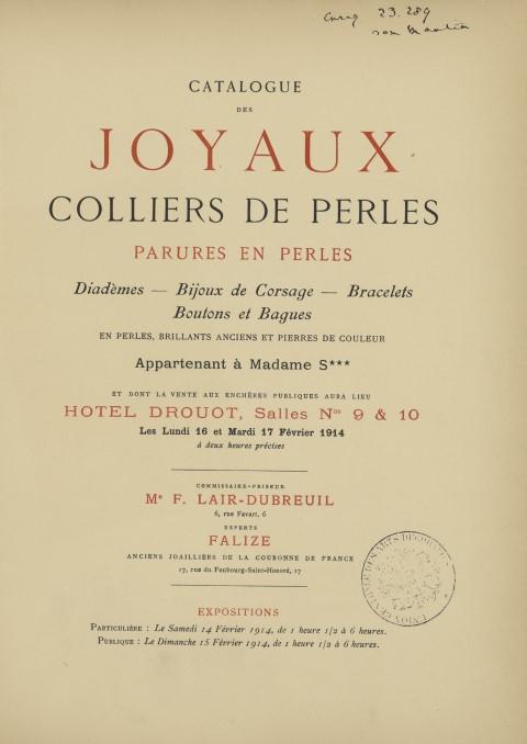 Vente, Paris, Drouot, 16-17 février 1914